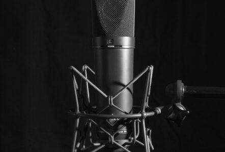 Neumann U87 microphone and shockmount close up Photo by Louis Radley